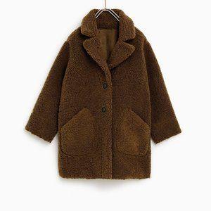 Zara teddy bear reversible fleece coat